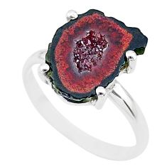 4.37cts natural brown geode druzy 925 silver solitaire ring size 6 t31522