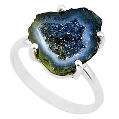 4.61cts natural brown geode druzy 925 silver solitaire ring size 6 t31530