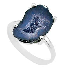 4.81cts natural brown geode druzy 925 silver solitaire ring size 6 t31537