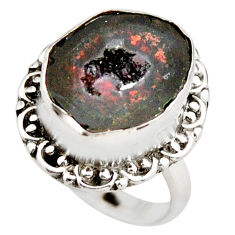 7.83cts natural brown geode druzy 925 silver solitaire ring size 7 r21415