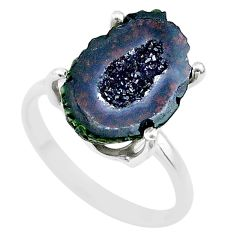 5.89cts natural brown geode druzy 925 silver solitaire ring size 7 t31504