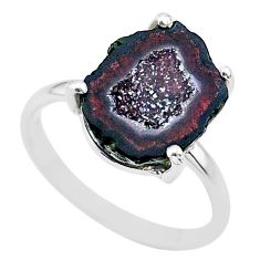5.24cts natural brown geode druzy 925 silver solitaire ring size 7 t31505