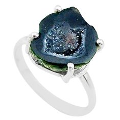 5.56cts natural brown geode druzy 925 silver solitaire ring size 7 t31509