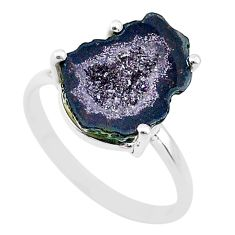 4.79cts natural brown geode druzy 925 silver solitaire ring size 7 t31514