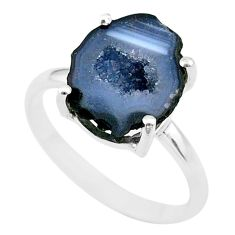 5.07cts natural brown geode druzy 925 silver solitaire ring size 7 t31525