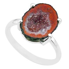 5.18cts natural brown geode druzy 925 silver solitaire ring size 7 t31526