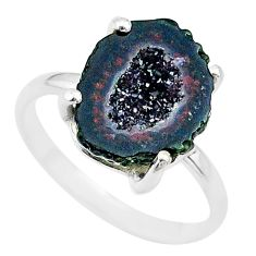 5.06cts natural brown geode druzy 925 silver solitaire ring size 7 t31527