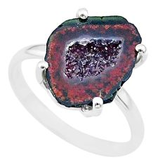 5.51cts natural brown geode druzy 925 silver solitaire ring size 7 t31529