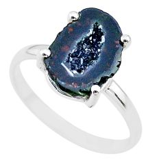 4.55cts natural brown geode druzy 925 silver solitaire ring size 7 t31531