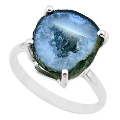 5.90cts natural brown geode druzy 925 silver solitaire ring size 7 t31534