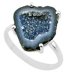5.09cts natural brown geode druzy 925 silver solitaire ring size 7 t31538