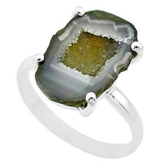 5.64cts natural brown geode druzy 925 silver solitaire ring size 7 t31540