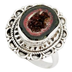 7.58cts natural brown geode druzy 925 silver solitaire ring size 8 r21393