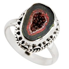 5.79cts natural brown geode druzy 925 silver solitaire ring size 8 r21406