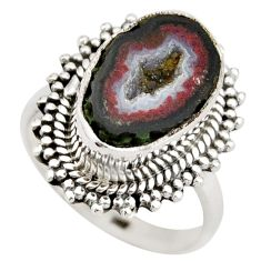 7.24cts natural brown geode druzy 925 silver solitaire ring size 8 r21411