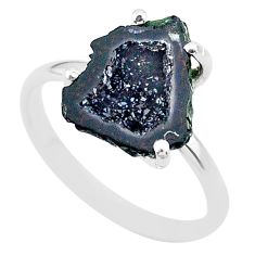 4.88cts natural brown geode druzy 925 silver solitaire ring size 8 t31485