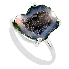 5.56cts natural brown geode druzy 925 silver solitaire ring size 8 t31491