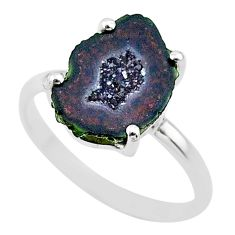 4.57cts natural brown geode druzy 925 silver solitaire ring size 8 t31492
