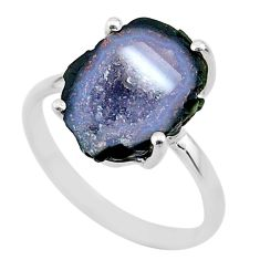 5.90cts natural brown geode druzy 925 silver solitaire ring size 8 t31498