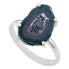 5.47cts natural brown geode druzy 925 silver solitaire ring size 8 t31499