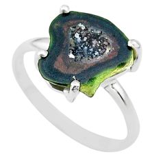 5.54cts natural brown geode druzy 925 silver solitaire ring size 9 t31487