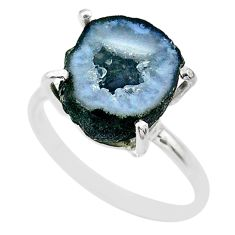 7.00cts natural brown geode druzy 925 silver solitaire ring size 9 t31490