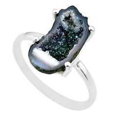 5.09cts natural brown geode druzy 925 silver solitaire ring size 9 t31510