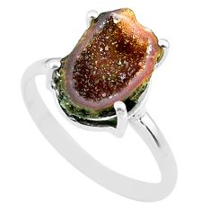 4.99cts natural brown geode druzy 925 silver solitaire ring size 9 t31515