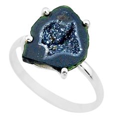 5.44cts natural brown geode druzy 925 silver solitaire ring size 9 t31536