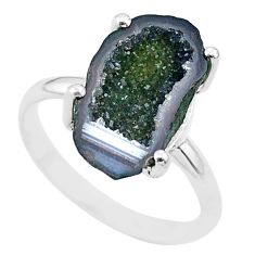 4.57cts natural brown geode druzy 925 silver solitaire ring size 7.5 t31533