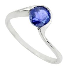 1.32cts natural brown iolite 925 sterling silver solitaire ring size 6 r25359