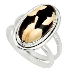 6.03cts natural brown peanut petrified wood fossil 925 silver ring size 7 r27278