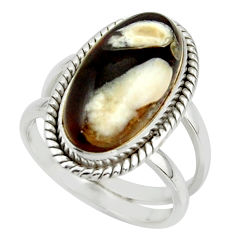 6.90cts natural brown peanut petrified wood fossil 925 silver ring size 7 r42185