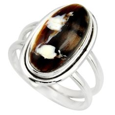6.18cts natural brown peanut petrified wood fossil 925 silver ring size 8 r27262