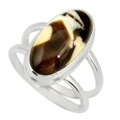 6.19cts natural brown peanut petrified wood fossil 925 silver ring size 8 r27272