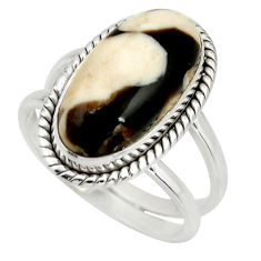 6.48cts natural brown peanut petrified wood fossil 925 silver ring size 8 r27275