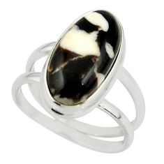 6.71cts natural brown peanut petrified wood fossil 925 silver ring size 8 r42186