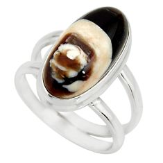 6.48cts natural brown peanut petrified wood fossil silver ring size 7.5 r27268