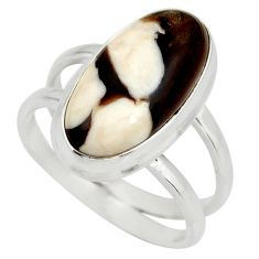 6.19cts natural brown peanut petrified wood fossil silver ring size 8.5 r27273