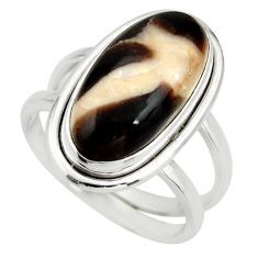 6.26cts natural brown peanut petrified wood fossil silver ring size 7.5 r27279