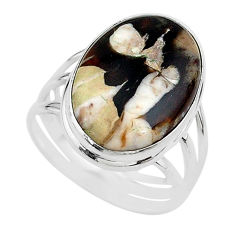 16.83cts natural brown peanut petrified wood fossil silver ring size 11 t17804