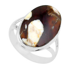 14.90cts natural brown peanut petrified wood fossil silver ring size 11 t17806