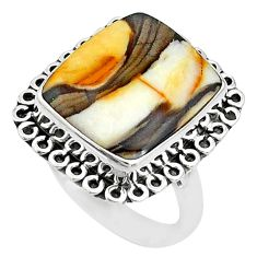 10.64cts natural brown peanut petrified wood fossil silver ring size 8 t10365