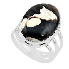 14.61cts natural brown peanut petrified wood fossil silver ring size 9 t17816