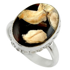 Natural brown peanut petrified wood fossil silver solitaire ring size 8 r28695