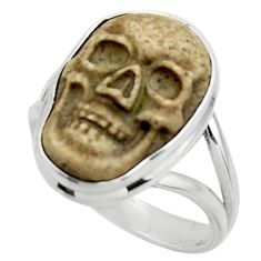 13.15cts natural brown picture jasper 925 silver skull ring size 8.5 r44514