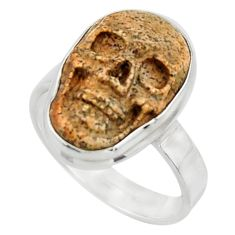 12.60cts natural brown picture jasper 925 silver skull ring size 8.5 r44517