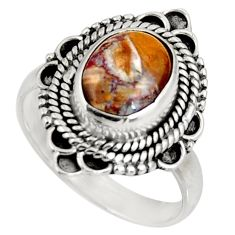 Clearance Sale- 4.46cts natural brown pietersite (african) silver solitaire ring size 7.5 d39034