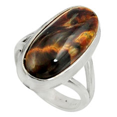 7.83cts natural brown pietersite (african) silver solitaire ring size 6.5 r28204