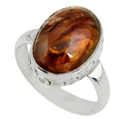 5.84cts natural brown pietersite (african) silver solitaire ring size 6.5 r28219